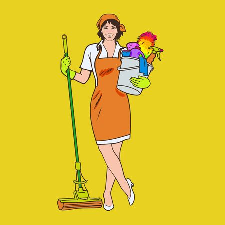 purify: Cleaning services. The cleaner with a mop. Cleaning homes and offices. Cheerful girl with a bucket. She will purify all. Woman in uniform. Easy cleaning. illustration