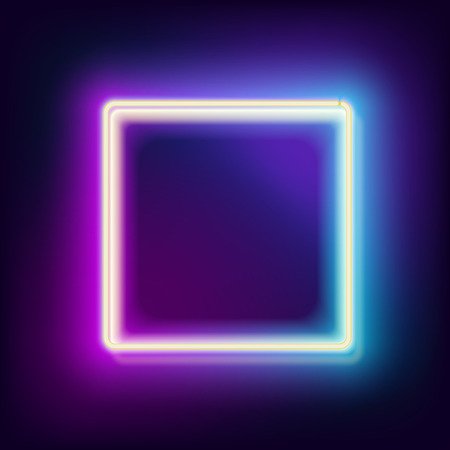 electric blue: Neon square. Neon blue light. electric frame. Vintage frame. Retro neon lamp. Space for text. Glowing neon background. Abstract electric background. Neon sign square. Glowing electric frame