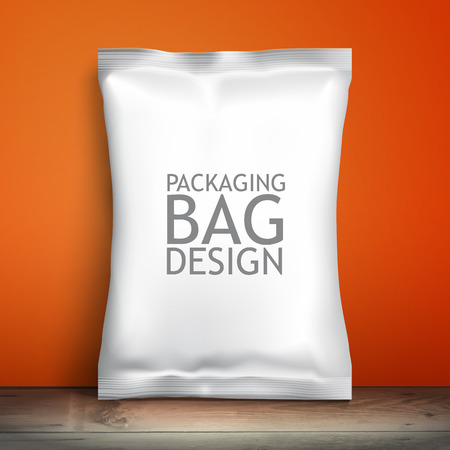package: Blank white packaging. Sample package. Blank template for design. Net packaging is on the shelf. Mockup Foil Food Snack pack, packaging or wrapper. Plastic Pack Template for design and branding.