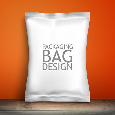 Leere weiße Verpackung. Beispielpaket. Leere Vorlage für das Design. Net Verpackung ist auf dem Regal. Mockup Foil Lebensmittel Snack Pack, Verpackung oder Verpackung. Kunststoff-Pack-Vorlage für das Design und Branding.