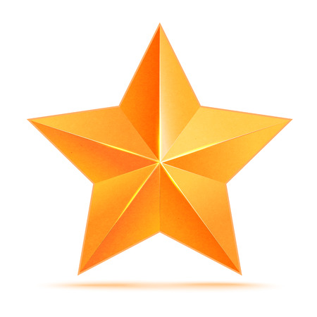 golden star: Realistic 3D gold star. Award winner. Good job. The best reward. bulk copper star. Simple star on a white background. The award for the best choice. Premium class. illustration