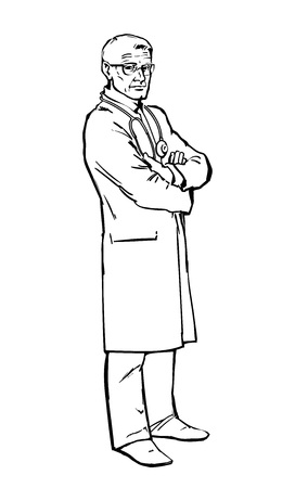 Serious doctor man to his full height, the attending person is baptized with her hands, warning look of an old man, isolated on white background, art sketch hand-drawn