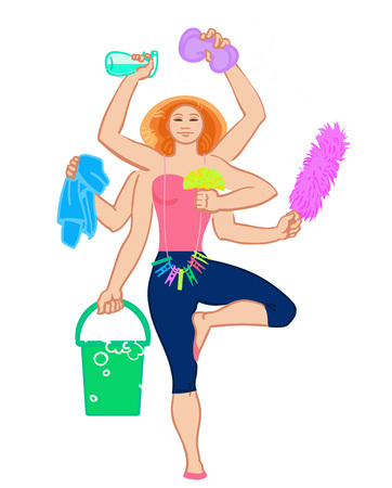 dry cleaner: Cleaning services. The cleaner with a mop. Cleaning homes and offices. Cheerful girl with a bucket. She will purify all. Woman in uniform. Easy cleaning. illustration