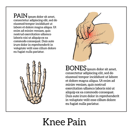 hand bones: Painted knee pain. Discomfort in a joint leg. Symptoms of motor functions in humans.Template medical bulletins. Illustration of human hand bones.