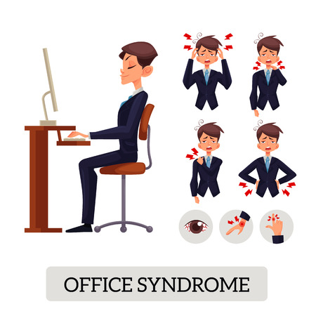 Set of illustrations of various types of office pain syndrome in humans and man sits evenly and properly for the work space, table, chair, eyes, brush, suffering, disease