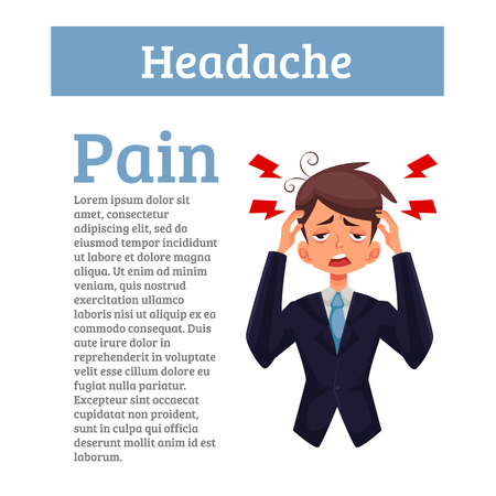 head pain: A man with a headache, compassion fatigue, a person with a disease of the head, an office worker holding his head with his hands and feels anguish. Demonstration of health problems and head Illustration