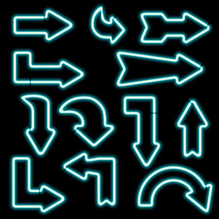 flechas curvas: señales de neón retro. Conjunto de flechas electrónicos. Iconos curvados flechas. Los elementos de diseño para sus pancartas, anuncios, Web. Símbolo de la vendimia de las flechas. ilustración Foto de archivo