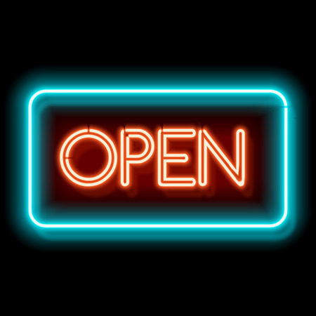 Retro club inscription Open. Vintage electric signboard with bright neon lights. Blue and red light falls on a black background. illustration
