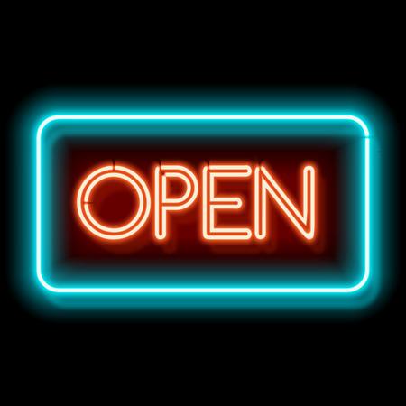 Retro inscripción club abierto. letrero eléctrico de la vendimia con las luces de neón brillantes. La luz azul y rojo cae sobre un fondo negro. ilustración Foto de archivo