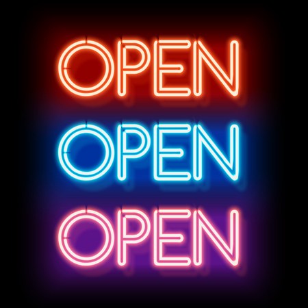 neon light: Neon sign Open. Inscription to login. Electric lamp in the form of words. Retro sign for the club on black background. Red, blue, violet light in the form of text. illustration