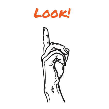 poke: Finger. Finger pointing. Pointer. Show direction. Pointing at something. Sketch hand, black and white vector illustration. One hand. Direction. Hand with a finger, touching anything Illustration