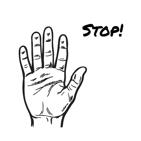 stopping: One Hand showing five fingers. Stopping gesture. stop character. Opened palm. Painted vector. Contour arm. Illustration Illustration