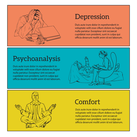relaxed man: Help psychologist. Psychotherapy. Consulting psychologist doctor. Psychologist listens to patient. Man in depression. The crisis in the country and life. Bad feeling. Relaxed. Search yourself. vector