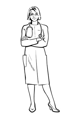 cardiologist: Young girl physician. Physician Specialist. Serious doctor. Doctor warns. Doctor stands. Woman doctor -gynecologist, neurologist. Cardiologist doctor.  Vector doctor. Sketch illustration