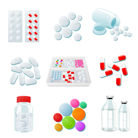 psychotropic medication: medicaments of various types, set of medical pill, vector Medicine isolated on white background, colorful products. Bottles and boxes with colored vitamins. Things to human health.