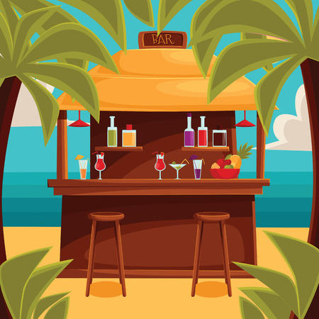 sunset beach: Beach bar on plage, summer barroom on vacation, cocktails on the sea with palm trees and water, ocean garizont visible for summer cafe, vector color illustration. variety summer drinks at the counter