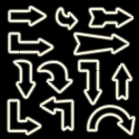 flechas curvas: señales de neón retro. Conjunto de flechas electrónicos. Iconos curvados flechas. Los elementos de diseño para sus pancartas, folletos, anuncios, Web. Símbolo de la vendimia de las flechas. ilustración