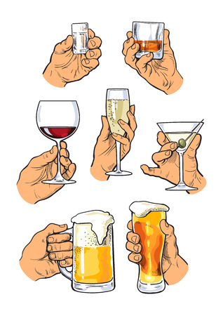 good evening: The hand holds a glass with alcohol. Drinks - champagne, beer, tequila, cocktail. Set with izobrezheniem hands and alcohol. The concept of alcohol consumption and of a good evening. . Sketch