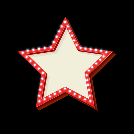 hollywood star: Red retro star frame. The symbol vintage volume with stars glowing lights. Starry frame with neon lights. Frame Hollywood star. Blank white space for your text ads business. illustration