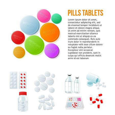 penicillin: Large round pills, different pills and white and color on a white background, vector illustration with set of drugs., colorful products. Bottles and boxes with colored vitamins. Things to human health Illustration