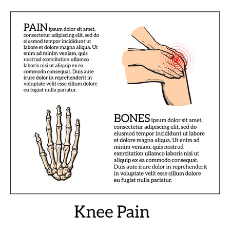 wrist joint: Pain in the knee, about the legs and knee joint diseases, bone disease, girl holding hands knee, colored sketch illustration drawn by hand, infographics about bodily diseases of people, bone