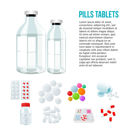 paracetamol: Medical jar, various pills and white and color on a white background, vector illustration with a set of drugs, colorful products. Bottles and boxes with colored vitamins. Things to human health Illustration