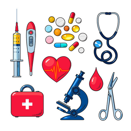 palpitations: Tools for medical research, the icons on the white background, colored vector objects medical sketch style hand-drawn, heart, icons, microscope, thermometer, syringe, medicines, first aid kit Illustration