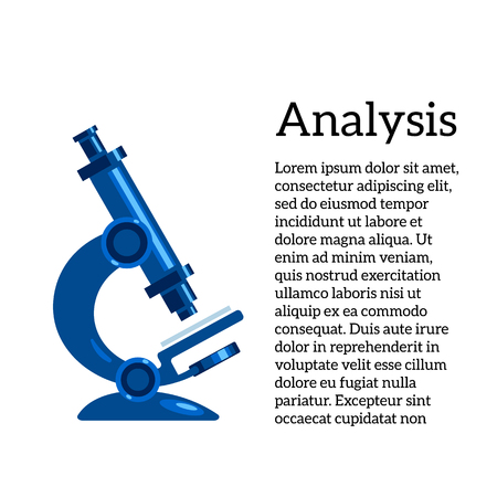 medical study: medical tests, vector illustration with a microscope, the study of human diseases. Medical tests and studies, review of germs and bacteria, micro-organisms through a microscope.