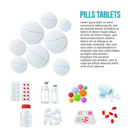 psychotropic medication: Large round pills, different pills and white and color on a white background, vector illustration with set of drugs., colorful products. Bottles and boxes with colored vitamins. Things to human health Illustration