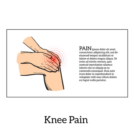 human knee: Painted knee pain. Discomfort in a joint leg. Symptoms of motor functions in humans. It is difficult to walk. Vector sketch illustration legs. Hands hold the knee in place of pain. Illustration knee