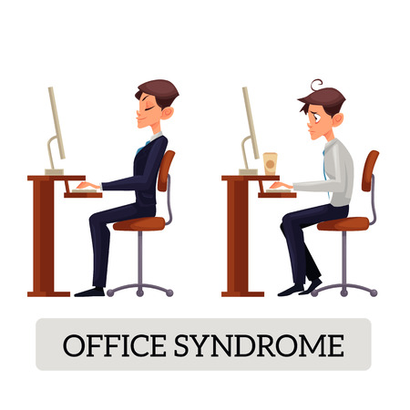 Properly seated worker for work space and the wrong man is sitting at the table on a chair, office syndrome. Pain in the mans back. Suffering at work in office vector illustration.