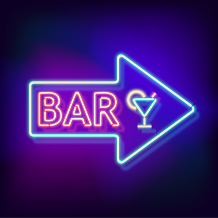 neon light: Retro neon sign with the word bar. Vintage electric arrow symbol. Burning a pointer to a black wall in a club, bar or cafe. Design element for your ad, signs, posters, banners. illustration