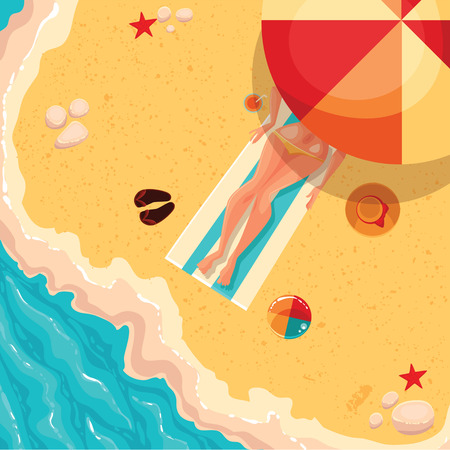 beach ball girl: Girl lying on a sunny beach under an umbrella, sea shore, wave of next flip flops, ball games, hat, starfish and sand colored cartoon vector illustration of concept of summer recreation, tourism