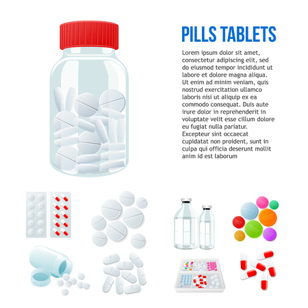 penicillin: Jar with pills, different pills and white and color on a white background, vector illustration with a set of drugs, colorful products. Bottles and boxes with colored vitamins. Things to human health