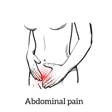 tummy: Concept illustration of a womans pain in stomach, menstrual cramps, diarrhea, indigestion, girl holding hands on a sick stomach, vector sketch kartnika on a white background with a red area of pain