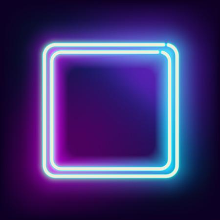 Neon Platz. Neon blaues Licht. Vector Elektro Rahmen. Vintage-Rahmen. Retro Neonlampe. Platz für Text. Leuchtende Neon Hintergrund. Abstrakt elektrischen Hintergrund. Neon Zeichen Platz. Glühend elektrischen Rahmen