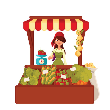 Sale of farm vegetables in the market, vector cartoon woman sells fresh vegetables and fruits at the market, retail sales of fresh homemade products, agricultural products Stock Illustratie