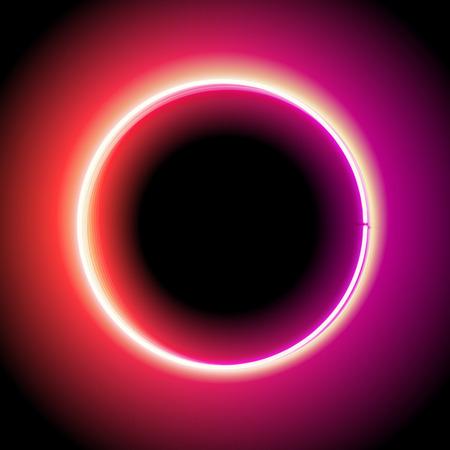 Neon cirkel. Neon rood licht. elektrische frame. Vintage frame. Retro neon lamp. Ruimte voor tekst. Gloeiende neon achtergrond. Achtergrond elektrische achtergrond. Neon teken cirkel. Gloeiende elektrische cirkel.