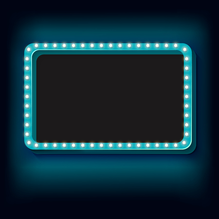 futile: Blue retro frame. Volumetric vintage frame with lights. Futile empty space for your text message advertising. Blue light lamps falls on a black background. illustration