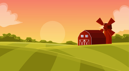 shed: Red hangar at the farmers field to the mill on agricultural land, natural landscape with green field and posevochnym the sunset with a red hangar farm vector cartoon illustration