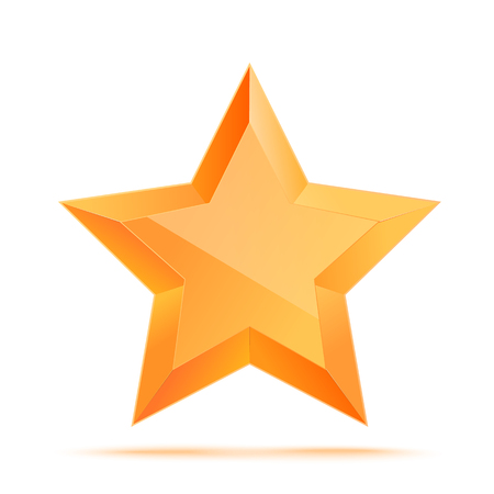 awarded: Realistic 3D gold star. Award winner. Good job. The best reward. bulk copper star. Simple star on a white background. The award for the best choice. Premium class. illustration