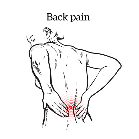 intervertebral: Lumbar pain in a woman back pain in a human vector outline sketch, black and white illustration with the concept of the disease back, violation of waist, lumbar vertebrae and intervertebral discs