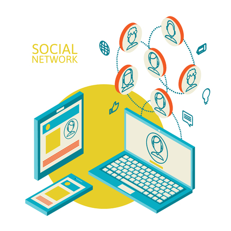 adverse: Isometric concept of social networking on the internet, flat mobile device, laptop, vector illustration with color abstract image of the Web adverse communication of people on social sites