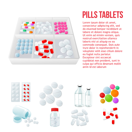 paracetamol: Packaging of medicines, various pills, white and color on a white background, vector illustration with set of drugs, colorful products. Bottles and boxes with colored vitamins. Things to human health Illustration