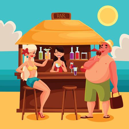 bar en la playa con un cóctel, ilustración vectorial de dibujos animados con las niñas, camarero, cócteles, y unas vacaciones de verano hombre en la playa, un viaje al mar caliente, Resto de vacaciones con alcohol Ilustración de vector