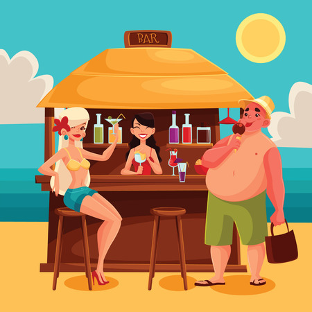 Beach bar with a cocktail, vector cartoon illustration with girls, bartender, cocktails, and a man Summer vacation at the beach, a trip to the warm sea, Rest on vacation with alcohol