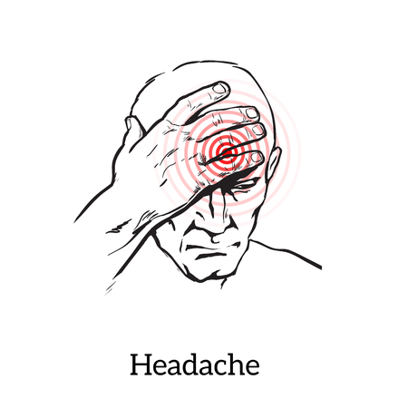head pain: Picture a man with a headache, vector illustration sketch of a man who holds his hand to his head, pain in the head of a man, the concept of sickness or disease in the human head