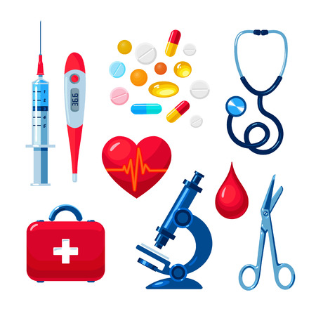 palpitations: Tools for medical research, the icons on the white background, colored vector objects medical flat style hand-drawn, heart, icons, microscope, thermometer, syringe, medicines, first aid kit