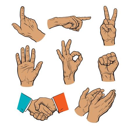 set di mani. Icone di diversi personaggi. Dito puntato. Battere le mani, applausi, stop e OK. Toccare nulla. Finger monitor touch. Dito punta a qualcosa. Pugno come simbolo di forza