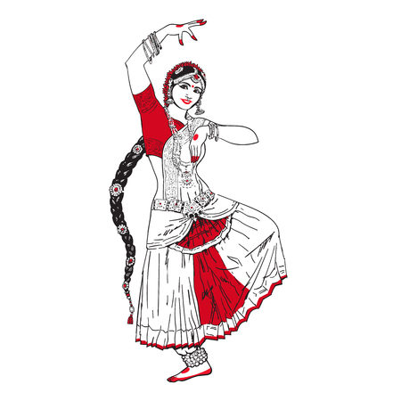 bollywood: Bollywood star. Dancing girl. Indian dance. Oriental girl dancing on a white background. Girl in red oriental dress. Indian dance, movement, film. illustration Stock Photo